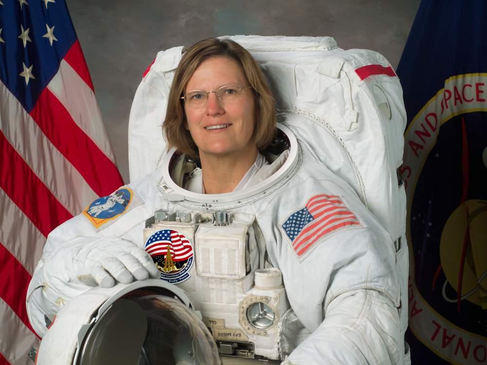 Kathryn Sullivan, Former NASA Astronaut, in her space suit