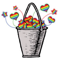 Bucket filled with rainbow hearts and stars